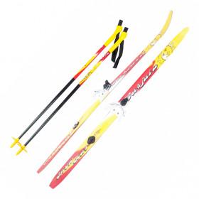 Лыжи детские с креплениями 75 мм и палками Karjala Snowstar (100-140 см)