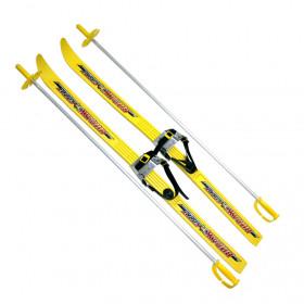 Лыжи детские с креплениями и палками Вираж-спорт (100 см)